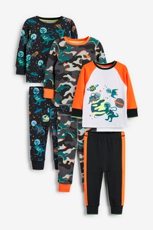 3 Pack Space Dino Print Pyjamas (9mths-12yrs)
