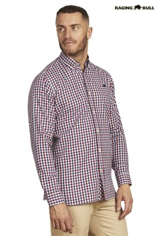 Raging Bull Red Long Sleeve 3 Colour Check Shirt