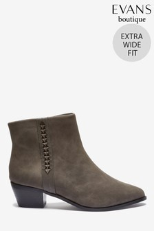 Evans Extra Wide Fit Grey Twist Side Ankle Boots