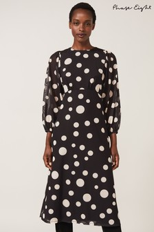 Phase Eight Black Vita Spot Mesh Print Dress