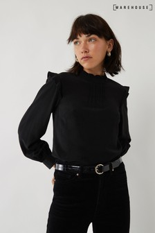 Warehouse Black Pintuck Frill Blouse