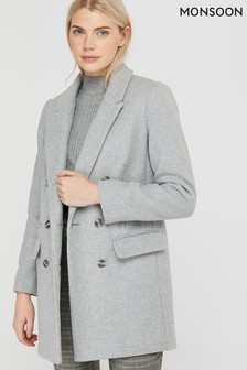 Monsoon Grey Alice Double Breasted Blazer Coat