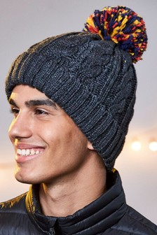 Cable Contrast Bobble Hat