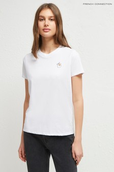 French Connection White L'Eouf Embroidery Tee