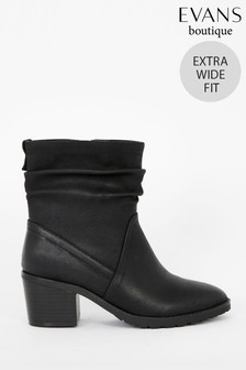 Evans Extra Wide Fit Black Rouched Calf Ankle Boots