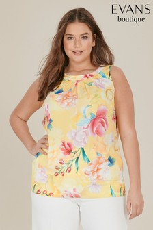 Evans Curve Yellow Floral Sleeveless Top