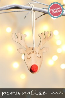 Personalised Reindeer Hanging Decoration by Oakdene Designs