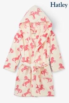 Бежевый флисовый халат Hatley Playful Horses