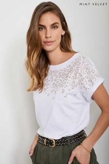 Mint Velvet White Leopard Studded T-Shirt
