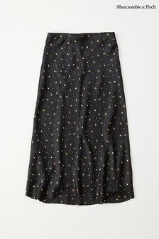 Abercrombie & Fitch Black Printed Satin Skirt