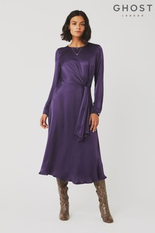 Ghost London Purple Mindy Satin Dress