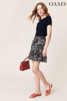 Oasis Black Leila Leopard Mini Skirt