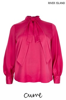 River Island Curve Long Sleeve Pussybow Blouse