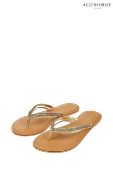 Accessorize Gold Danielle Double Strap Embroidered Flip Flops