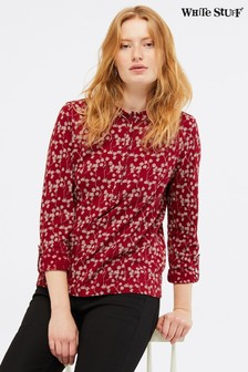 White Stuff Red Eden Frill Jersey Shirt