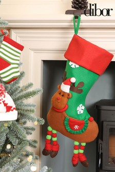 Christmas Reindeer Childrens Stocking by Dibor
