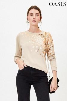 Oasis Natural Foil Leopard Sweater