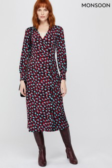 Monsoon Red Carla Spot Print Midi Dress