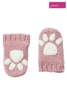 Joules Pink Paws Knitted Mittens
