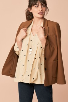 Relaxed Fit Single Breasted Crepe Jacket
