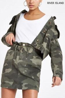 River Island Khaki Camo Pandora Belted Skirt