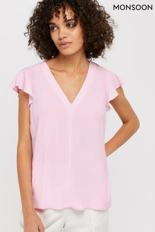 Monsoon Pink Nessa Short Sleeve Blouse