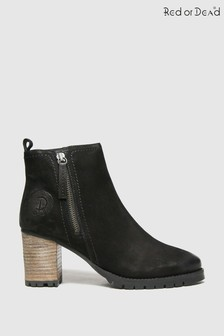 Red Or Dead Black Ramp Nubuck Leather Boots