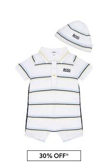 Boss Kidswear BOSS Baby Boys White Cotton Romper
