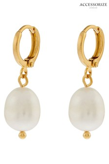 Accessorize Cream Organic Pearl Drop Huggie Earrings