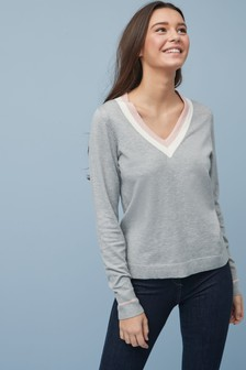 Colourblock V-Neck Jumper