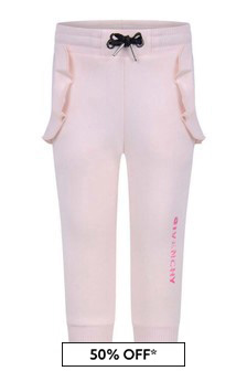 Givenchy Kids Baby Girls Pink Ruffle Trim Joggers