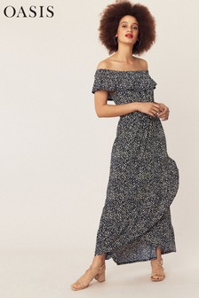 Oasis Blue Petite Isla Bardot Maxi Dress