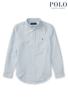 Ralph Lauren Blue And White Stripe Logo Oxford Shirt