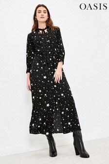 Oasis Black Star Pussy Bow Midi Dress