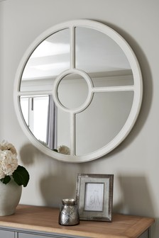 Round Wooden Window Mirror
