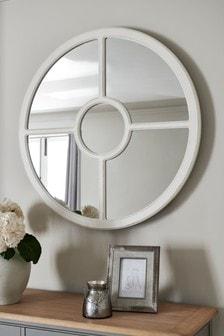 Round Wooden Window Mirror