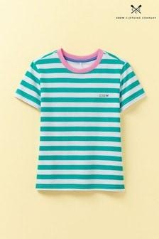 Crew Clothing Green Breton Stripe Short Sleeve Crew T-Shirt