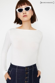 Warehouse Slash Neck Long Sleeve Top