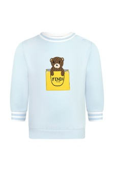 Fendi Kids Baby Boys Blue Cotton Sweater