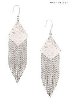 Mint Velvet Silver Hammered Fringe Earrings
