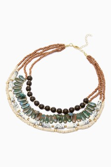 Multi Row Bead Statement Necklace