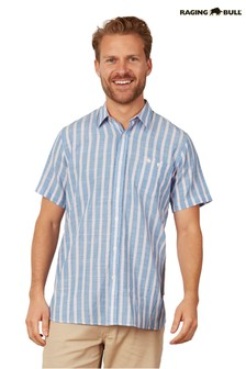 Raging Bull Blue Short Sleeve Stripe Linen Shirt