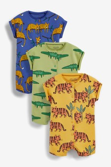 3 Pack Printed Popper Rompers (0mths-3yrs)