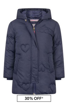 Girls Navy Long Padded Jacket