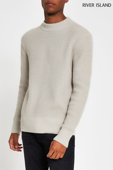 River Island Ivory Waffle Knitted Jumper