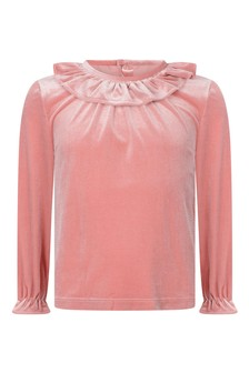 Girls Pink Frilly Collar Blouse