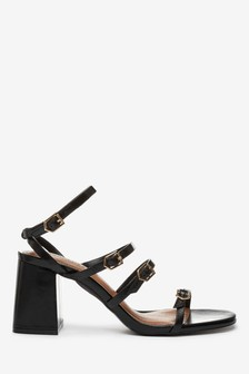 Multi Buckle Block Heel Sandals