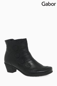 Gabor Black Georgie Womens Leather Modern Ankle Boots