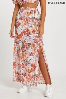 River Island Orange Aline Floral Maxi Skirt