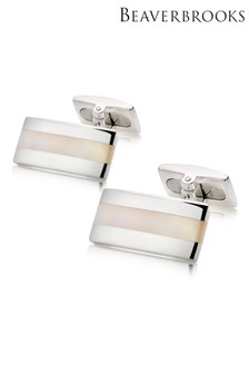 Beaverbrooks Silver And Mother Of Pearl Cufflinks
